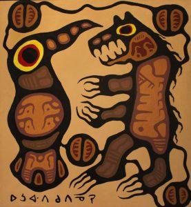 Sold - Norval Morrisseau -Medicine Bear And Bird Spirit