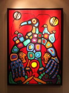 Sold - Norval Morrisseau - Thunderbird giving blessing